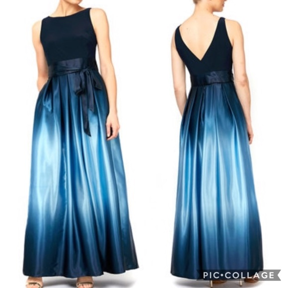 SLNY Evening Gown Navy Blue Ombre Satin Bow 14